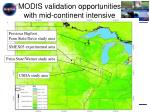modis validation opportunities with mid continent intensive