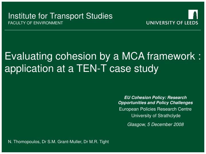 evaluating cohesion by a mca framework application at a ten t case study n.