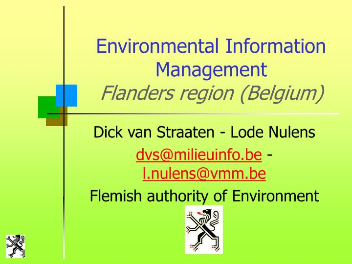 environmental information management flanders region belgium n.