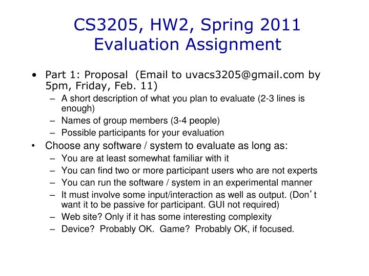 cs3205 hw2 spring 2011 evaluation assignment n.