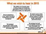 what we wish to hear in 2015