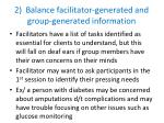 2 balance facilitator generated and group generated information