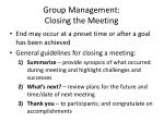 group management closing the meeting