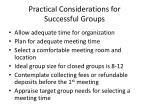 practical considerations for successful groups