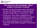 how does the uk parliament affect people in northern ireland