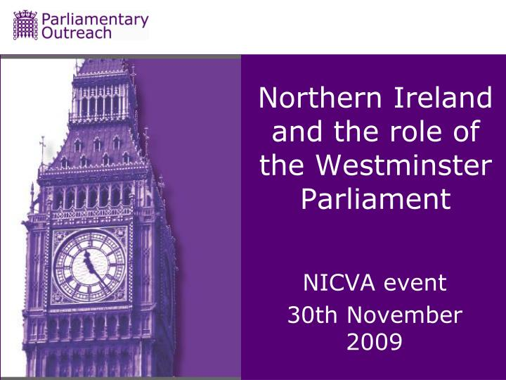 northern ireland and the role of the westminster parliament n.