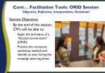 cont facilitation tools orid session objective reflective interpretative decisional