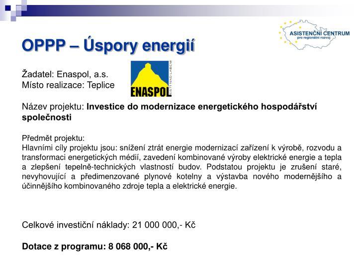 OPPP – Úspory energií