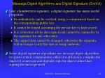 message digest algorithms and digital signature cont d