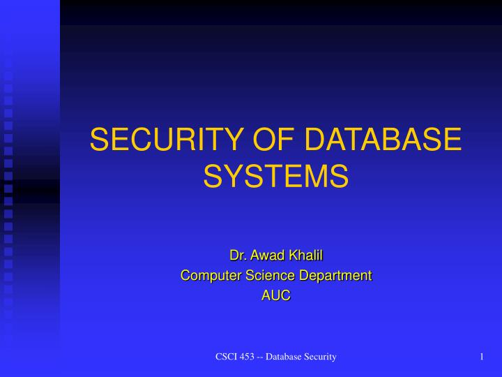 security of database systems n.