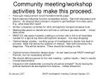 community meeting workshop activities to make this proceed