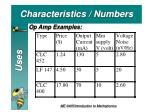characteristics numbers