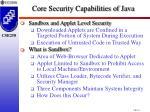 core security capabilities of java