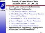 security capabilities of java access control list acls