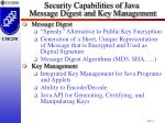 security capabilities of java message digest and key management