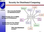 security for distributed computing