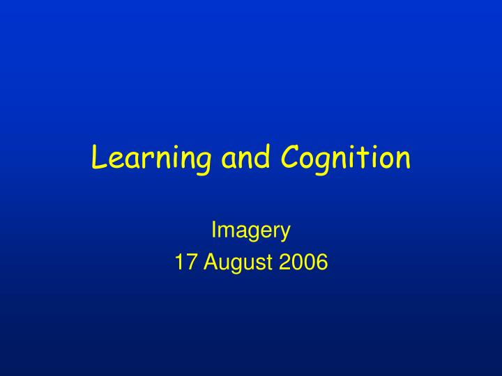 learning and cognition n.