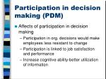 participation in decision making pdm