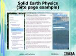 solid earth physics site page example