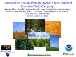 atmospheric results from the nacp s mid continent intensive field campaign