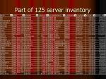 part of 125 server inventory