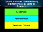 opportunities for demonstrating e effectivness leading by example