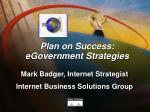 plan on success egovernment strategies