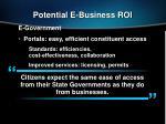 potential e business roi
