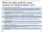 what new data products would advance te research goals 1 2