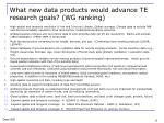 what new data products would advance te research goals wg ranking