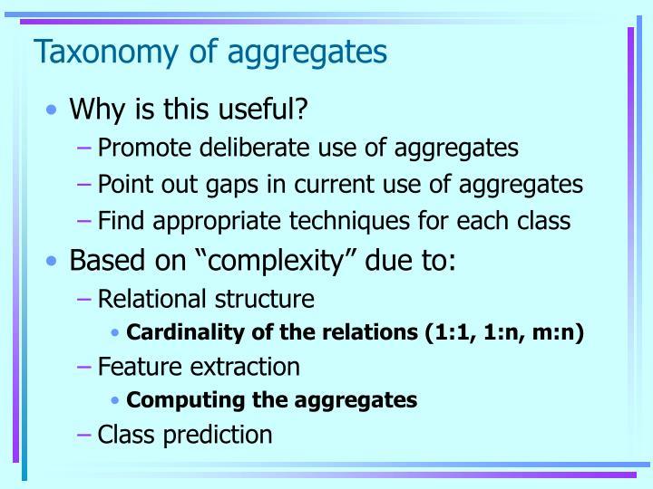 Taxonomy of aggregates