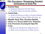 file descriptors maintaining detailed information on each file