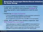 board has encouraged market based initiatives for solar energy