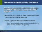 contracts are approved by the board
