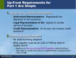 up front requirements for part 1 are simple