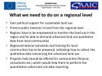 what we need to do on a regional level