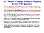 us climate change science program carbon cycle questions
