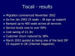 tiscali results
