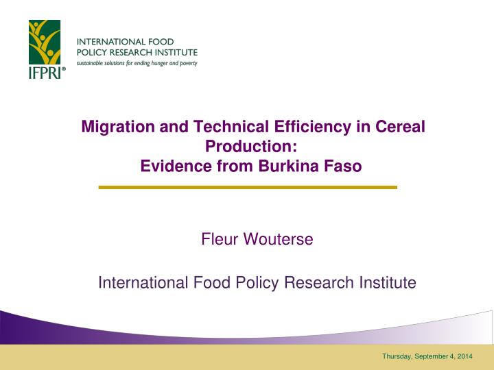 migration and technical efficiency in cereal production evidence from burkina faso n.