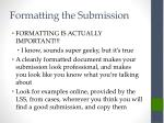 formatting the submission