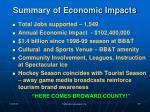 summary of economic impacts