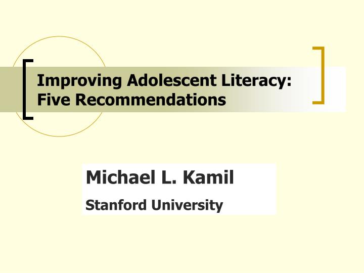 improving adolescent literacy five recommendations n.