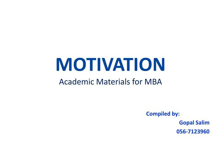 motivation academic materials for mba n.