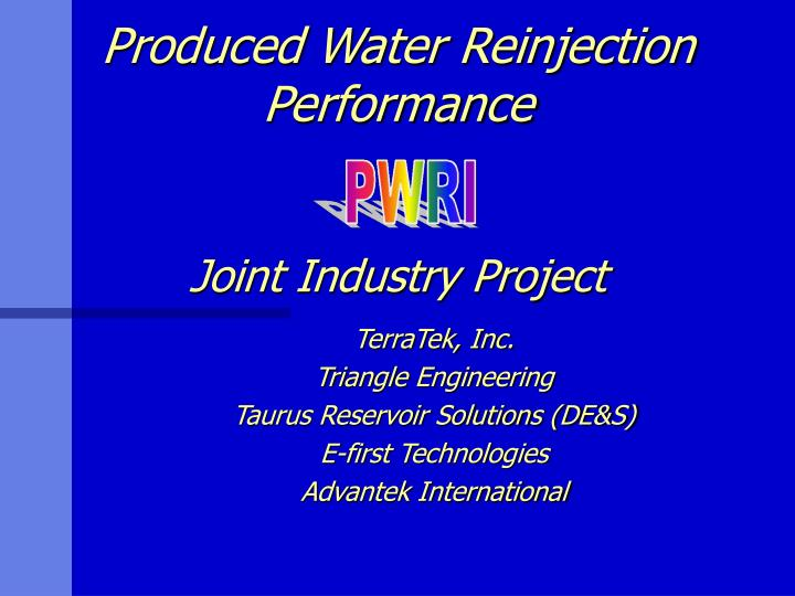 produced water reinjection performance joint industry project n.