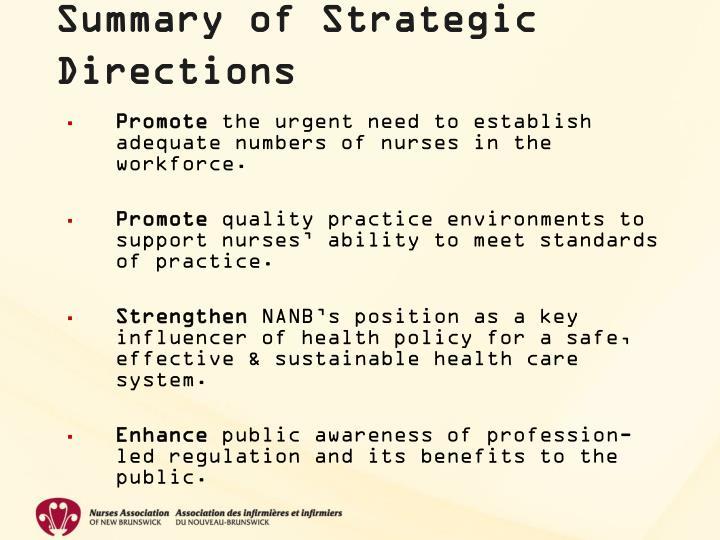 Summary of Strategic Directions