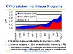 cpi breakdown for integer programs