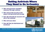 getting antivirals where they need to go in country