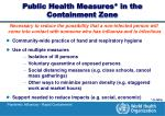 public health measures in the containment zone