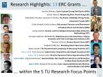 research highlights 13 erc grants