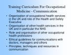 training curriculum for occupational medicine communication